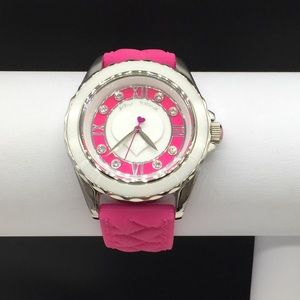 Betsey Johnson Pink White Heart Crystal Watch